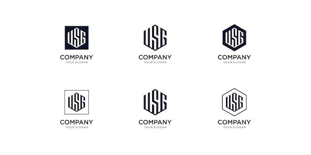 Modelo de design de logotipo com iniciais de usg