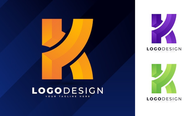 Modelo de design de logotipo com letra k inicial colorido