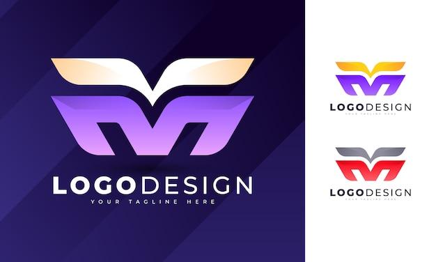 Modelo de design de logotipo com letra m inicial