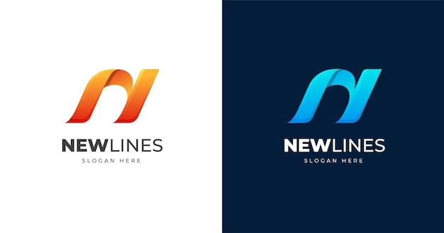 Modelo de design de logotipo com letra n inicial