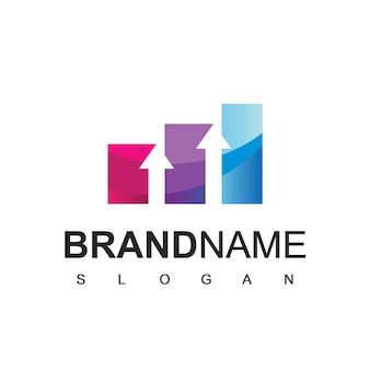 Modelo de design de logotipo comercial com símbolo de estatística de negócios