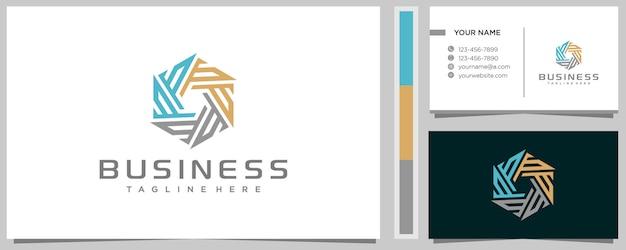 Modelo de design de logotipo creative letter ps com cartão de visita