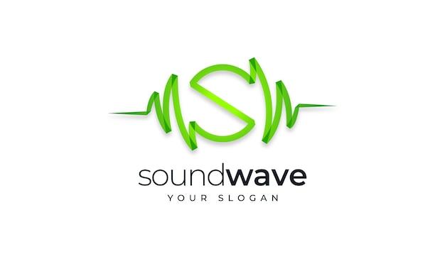 Modelo de design de logotipo criativo de soundwave da letra