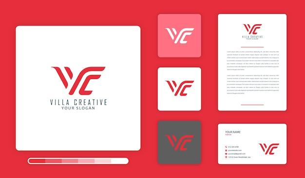 Modelo de design de logotipo criativo de villa