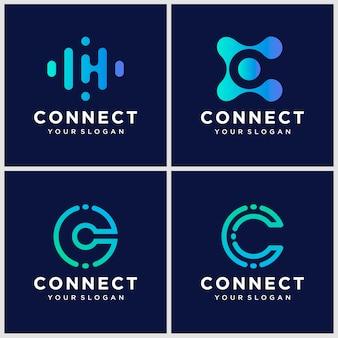 Modelo de design de logotipo criativo letra c com conectar conceito.