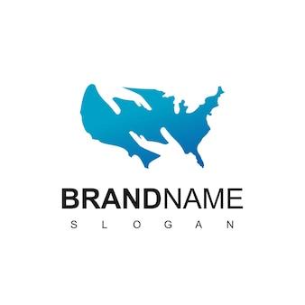Modelo de design de logotipo da american care, mapa dos estados unidos com vetor de design de mão de pessoas