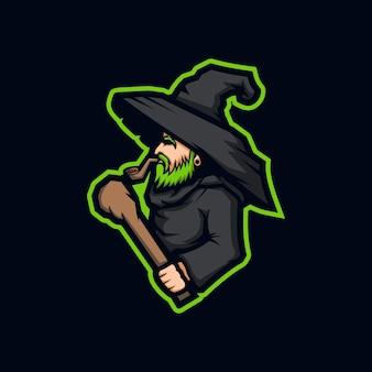 Modelo de design de logotipo da bruxa esport
