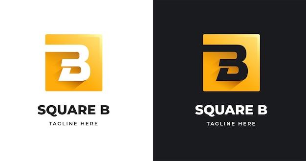 Modelo de design de logotipo da letra b com estilo de formato quadrado