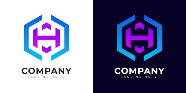 Modelo de design de logotipo da letra h inicial de estilo gradiente moderno