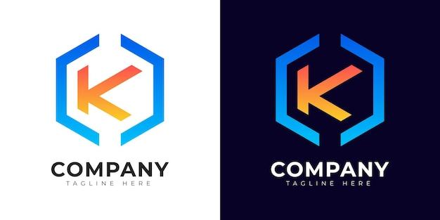 Modelo de design de logotipo da letra inicial k de estilo gradiente moderno