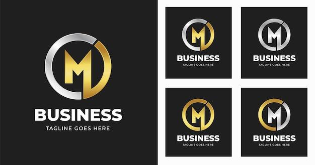 Modelo de design de logotipo da letra m com estilo de forma de círculo