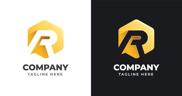 Modelo de design de logotipo da letra r com estilo de forma geométrica