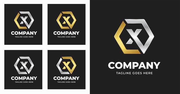 Modelo de design de logotipo da letra x com estilo de forma geométrica