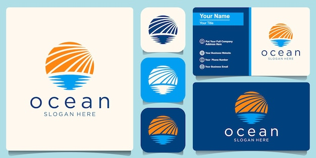 Modelo de design de logotipo da ocean wave