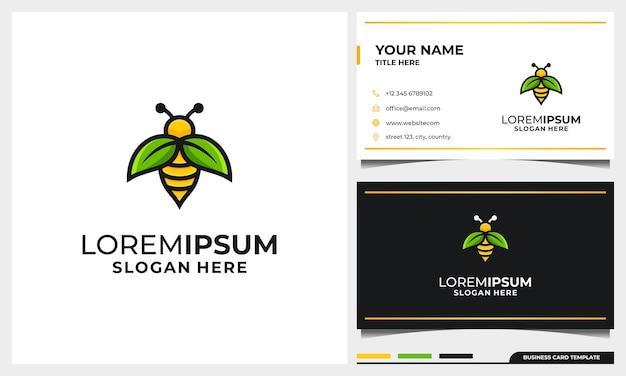 Modelo de design de logotipo de abelha de mel com conceito de folha de asa natural e modelo de cartão de visita