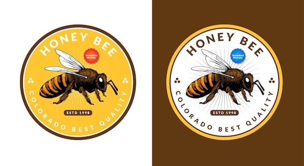 Modelo de design de logotipo de abelha de mel