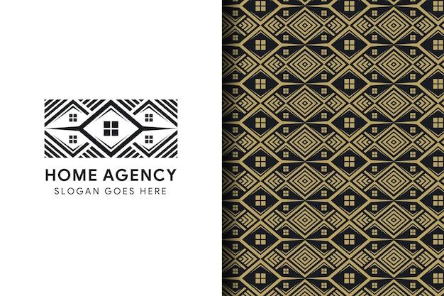 Modelo de design de logotipo de agência doméstica preto padrão imobiliário usar ouro isolado em fundo preto