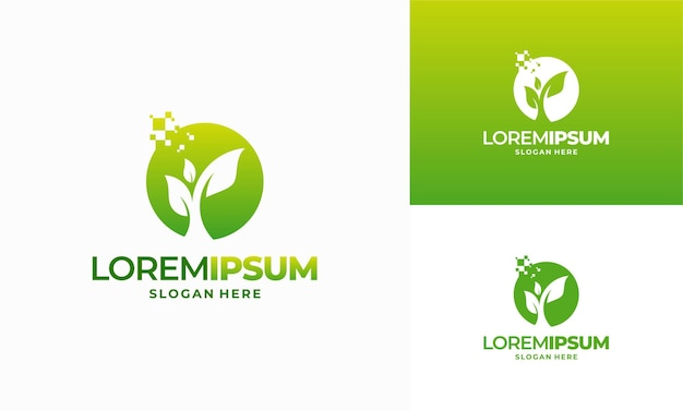 Modelo de design de logotipo de agricultura digital, designs de logotipo leaf tech, vetor de conceito de designs de logotipo green technology
