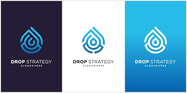 Modelo de design de logotipo de água de estratégia.