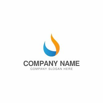 Modelo de design de logotipo de água e gás