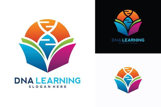 Modelo de design de logotipo de aprendizagem de dna