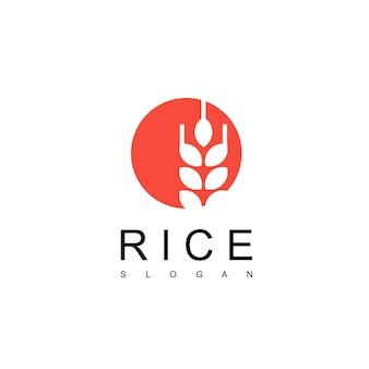 Modelo de design de logotipo de arroz