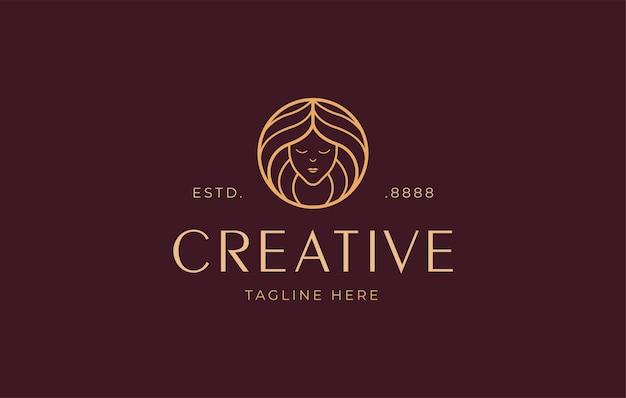 Modelo de design de logotipo de arte de linha de beleza para mulheres