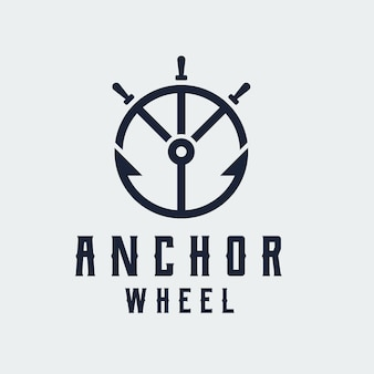 Modelo de design de logotipo de arte de linha de roda de âncora e navio