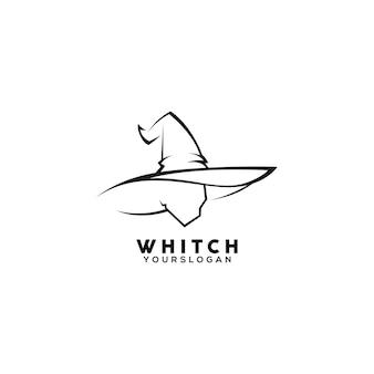 Modelo de design de logotipo de arte em linha de bruxa