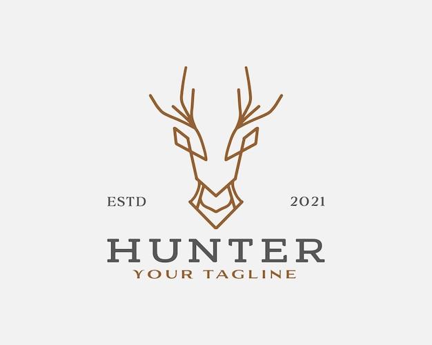 Modelo de design de logotipo de arte em linha de caçador de cervos