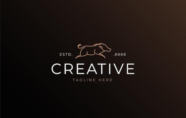 Modelo de design de logotipo de arte em linha de javali