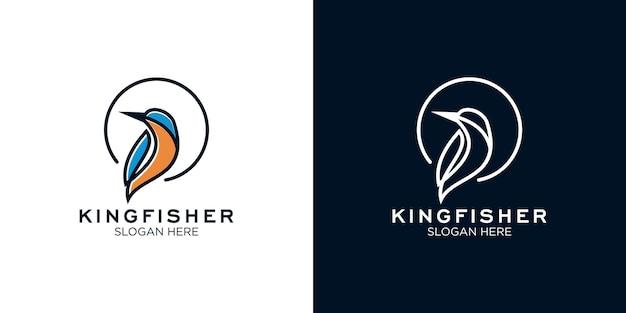 Modelo de design de logotipo de arte em linha kingfisher