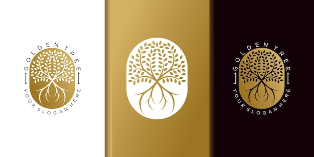 Modelo de design de logotipo de árvore dourada minimalista com conceito moderno de veículo premium