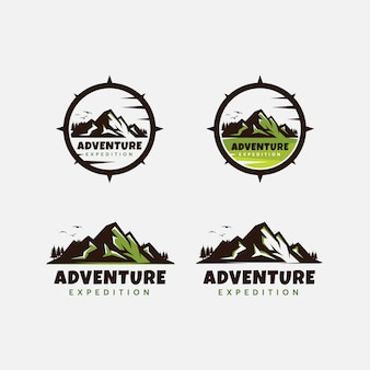 Modelo de design de logotipo de aventura de montanha vintage premium