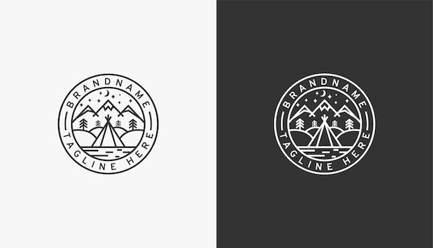 Modelo de design de logotipo de aventura em acampamento de montanha
