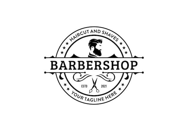Modelo de design de logotipo de barbearia retrô vintage. design redondo circular da etiqueta do carimbo