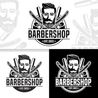 Modelo de design de logotipo de barbearia