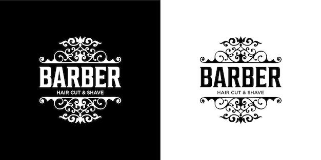 Modelo de design de logotipo de barbeiro