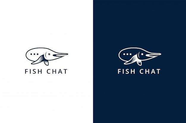 Modelo de design de logotipo de bate-papo de peixe. esta marca usa uma combinação de símbolo de bate-papo e peixes usam a cor azul plana.