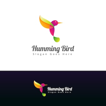 Modelo de design de logotipo de beija-flor colorido