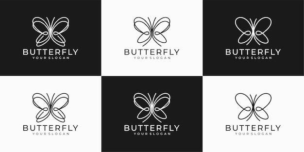 Modelo de design de logotipo de borboleta com arte de linha