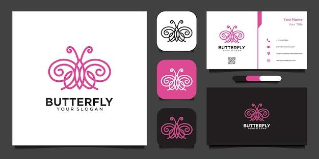 Modelo de design de logotipo de borboleta com linha e cartão de visita