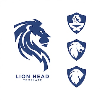 Modelo de design de logotipo de cabeça de leão