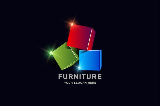 Modelo de design de logotipo de caixa quadrada