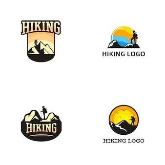 Modelo de design de logotipo de caminhadas