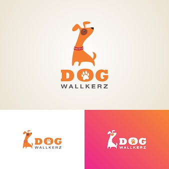 Modelo de design de logotipo de caminhantes de cão criativo