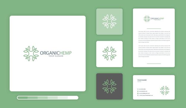 Modelo de design de logotipo de cânhamo orgânico