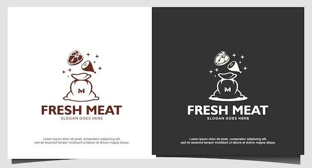 Modelo de design de logotipo de carne fresca