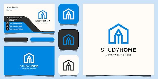 Modelo de design de logotipo de casa de estudo. lápis combinado com casa.