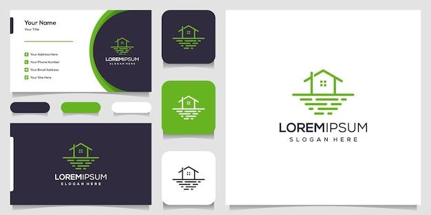 Modelo de design de logotipo de casa, ilustração e cartão de visita